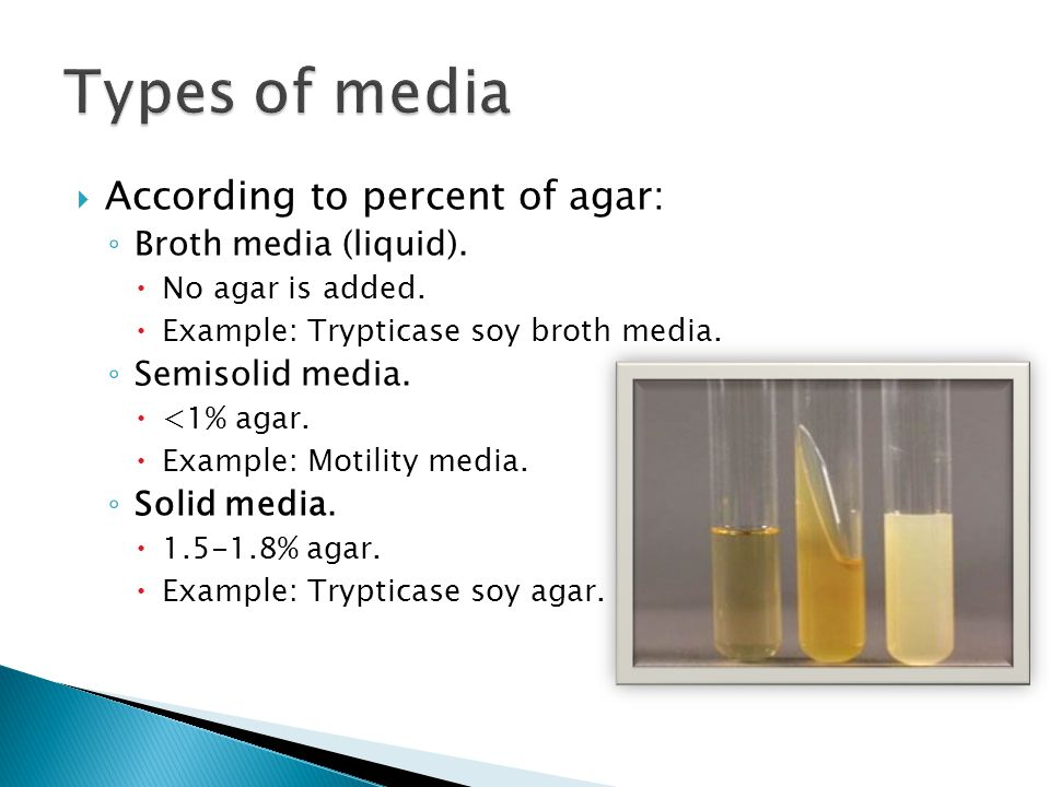 Types of media According to percent of agar: Broth media (liquid).