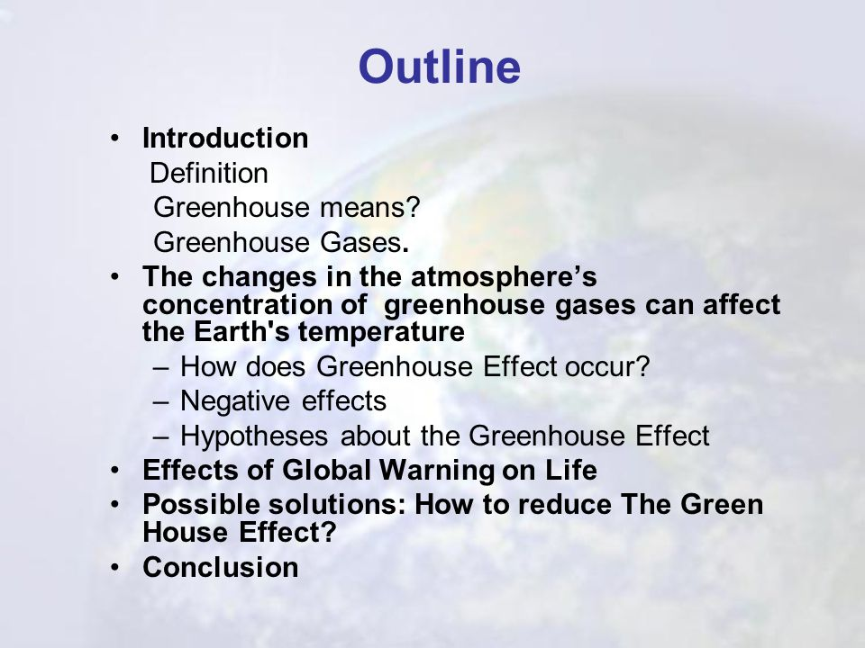 Outline Introduction Definition Greenhouse means Greenhouse Gases.