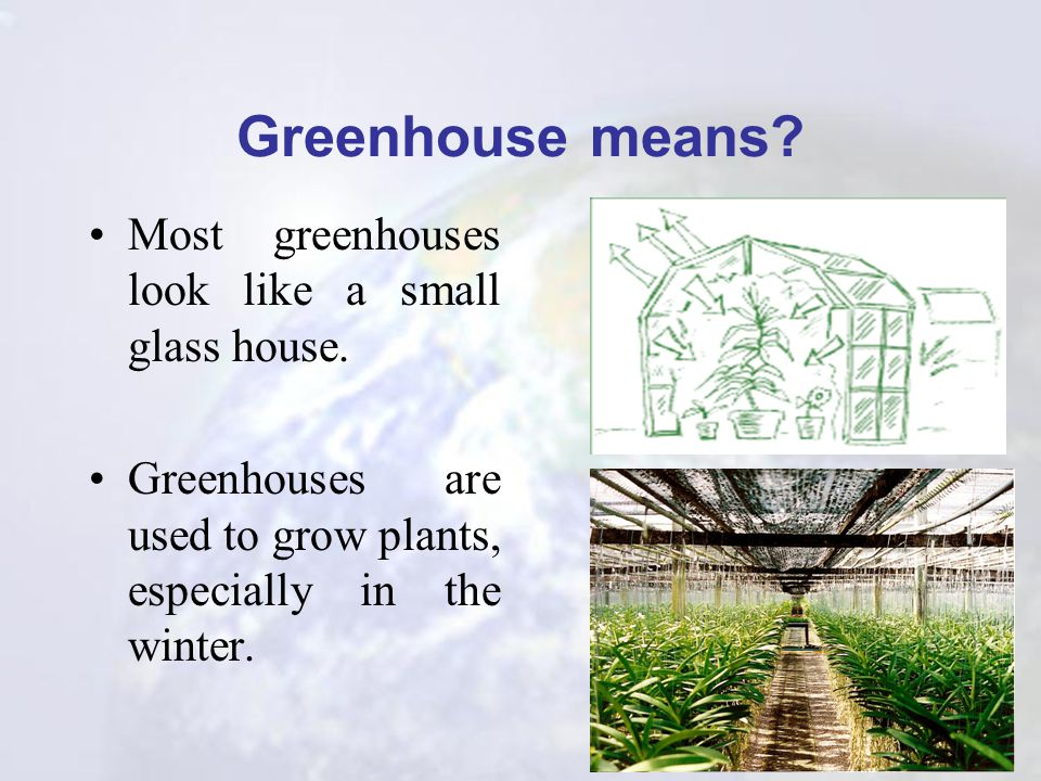 Greenhouse means Most greenhouses look like a small glass house.