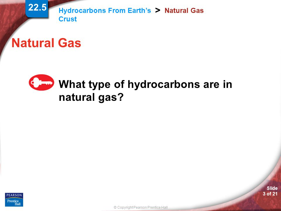 Natural Gas What type of hydrocarbons are in natural gas 22.5