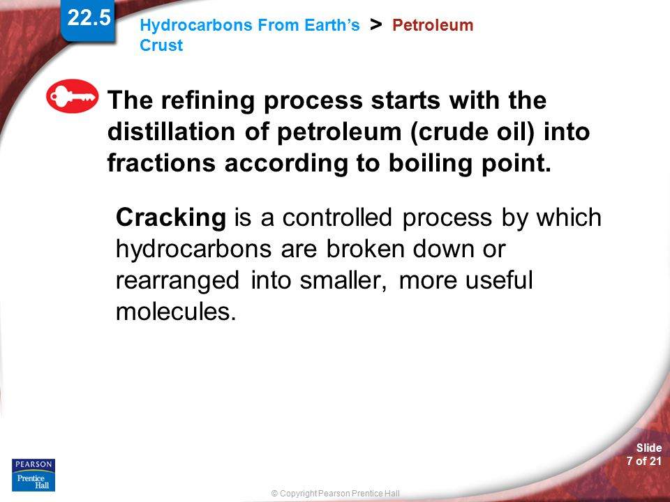22.5 Petroleum. The refining process starts with the distillation of petroleum (crude oil) into fractions according to boiling point.