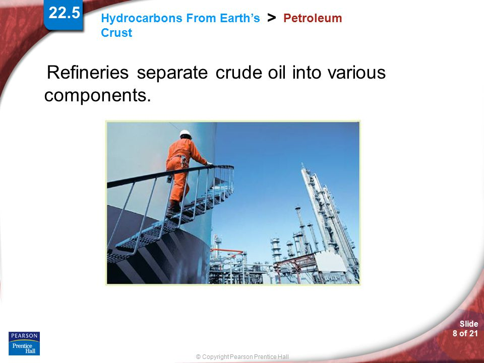 Refineries separate crude oil into various components.