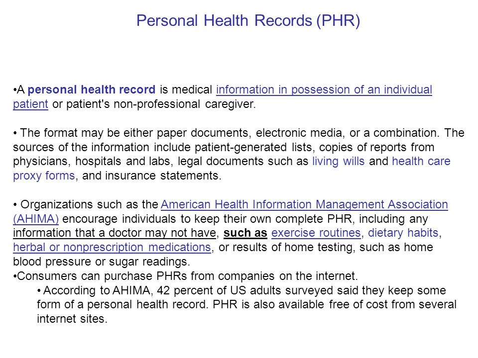 Electronic Health Records (Ehr) - Ppt Download