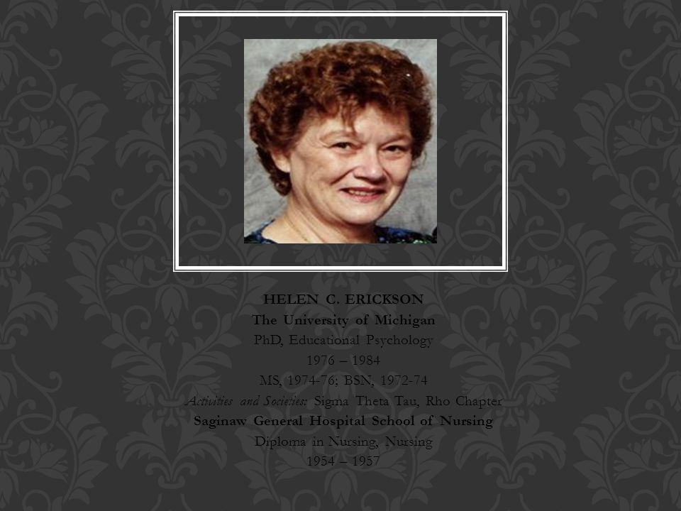 theory of helen erickson Helen c erickson, ph d, r n  the nursing theory, modeling and role- modeling, is  processes differ from wholistic health status (erickson, tomlin, .