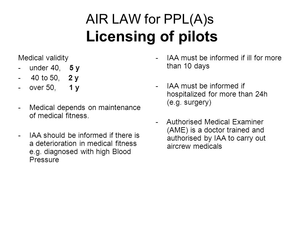 AIR LAW for PPL(A)s Licensing of pilots