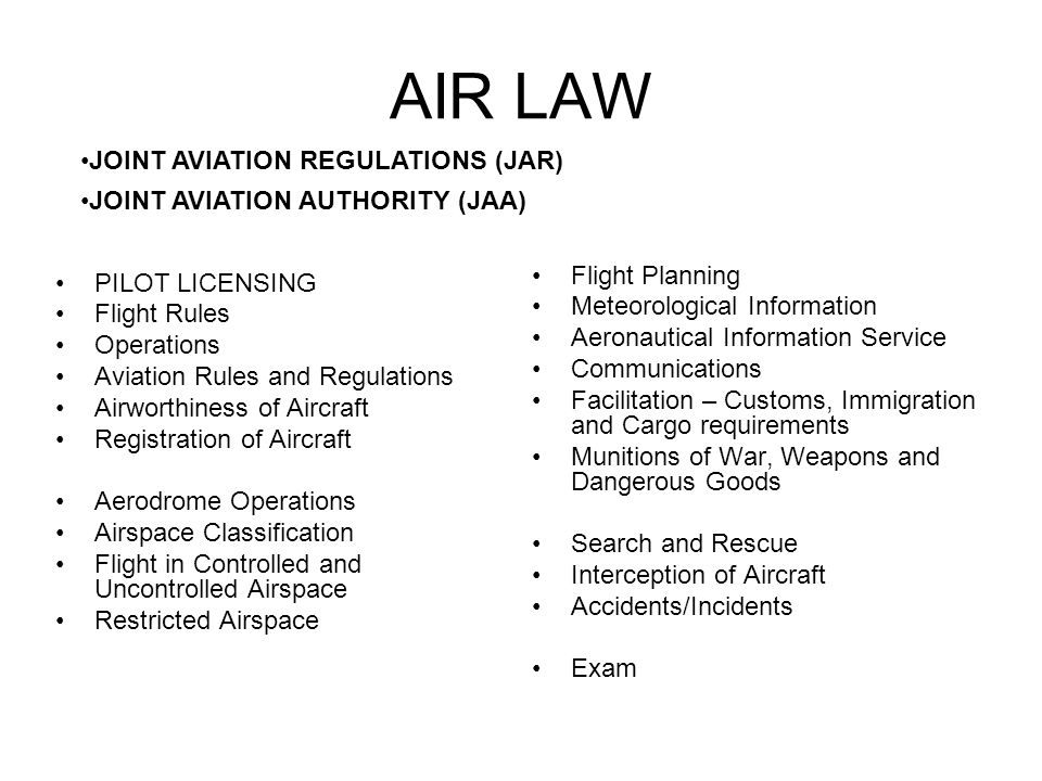 AIR LAW JOINT AVIATION REGULATIONS (JAR)