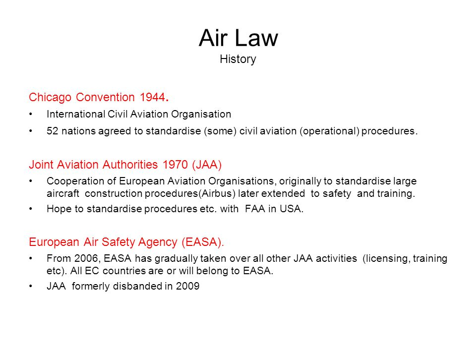 Air Law History Chicago Convention 1944.