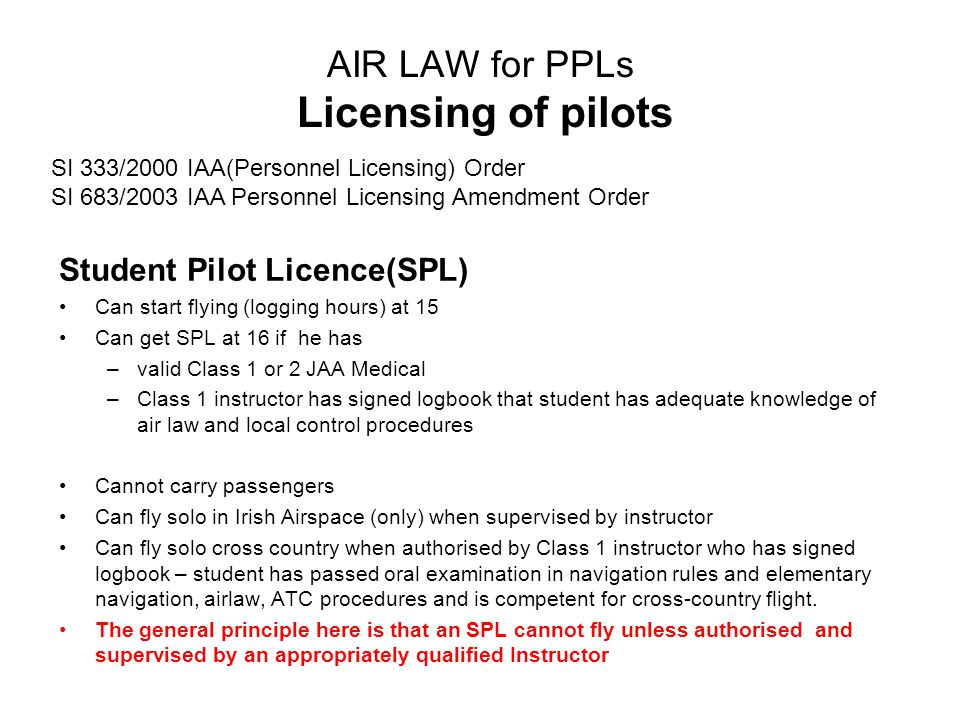 AIR LAW for PPLs Licensing of pilots