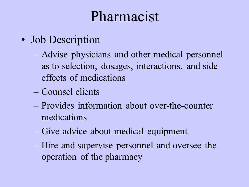 An introduction to the work of a pharmacist