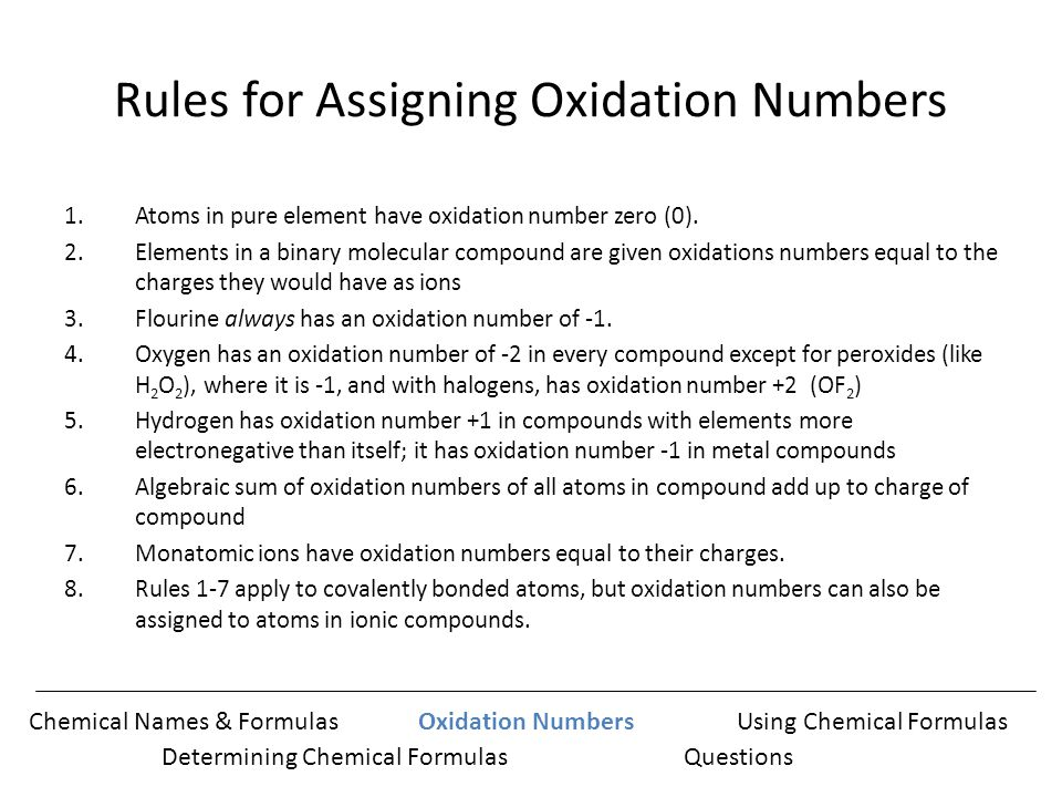 assigning oxidation number If we assign a − 1-1 − 1 minus, 1 oxidation number to hydrogen because we think it might be a hydride, we get for the sum of oxidation numbers: that doesn't look right.
