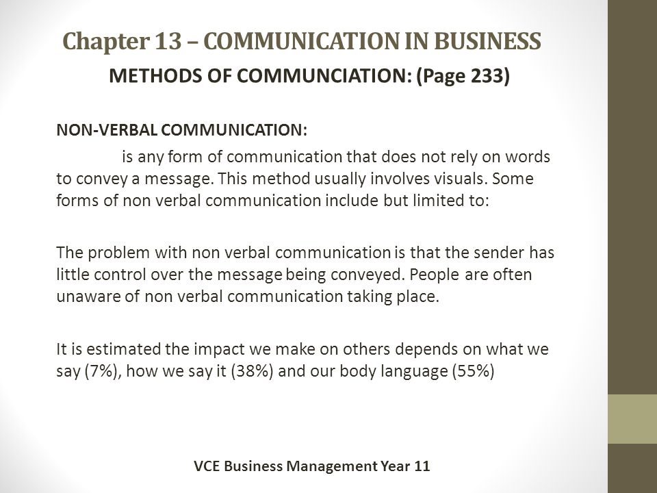 Chapter 13 – COMMUNICATION IN BUSINESS