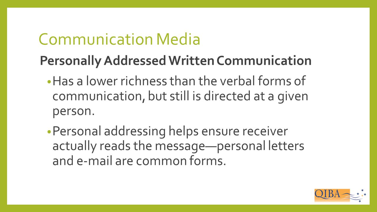 Communication Media Personally Addressed Written Communication