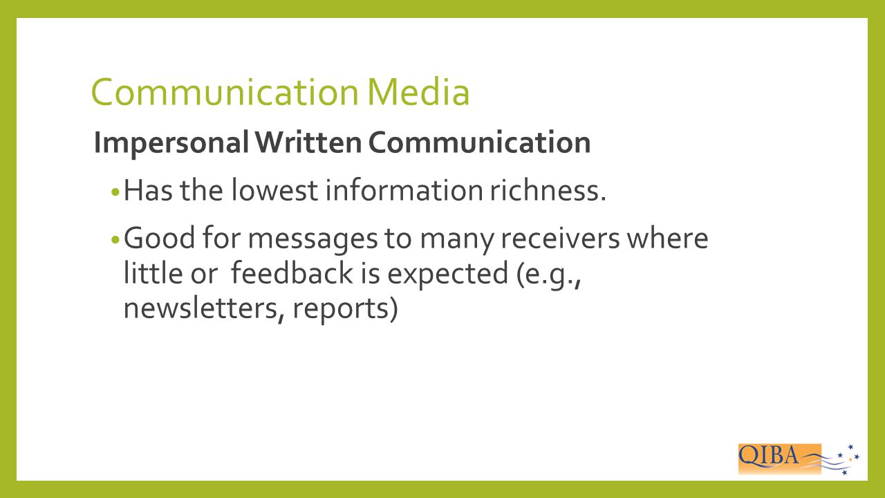 Communication Media Impersonal Written Communication