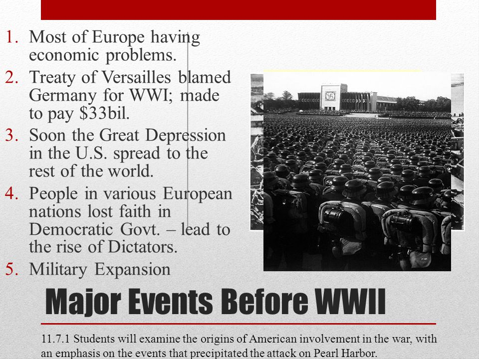 Major Events Before WWII