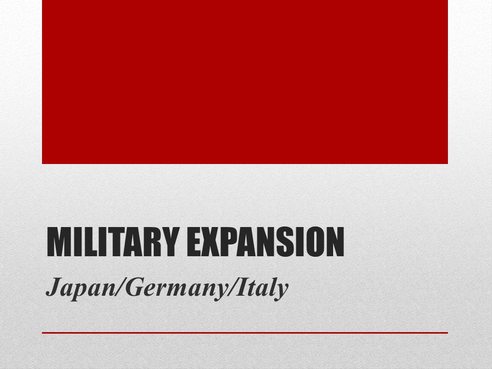 Military Expansion Japan/Germany/Italy