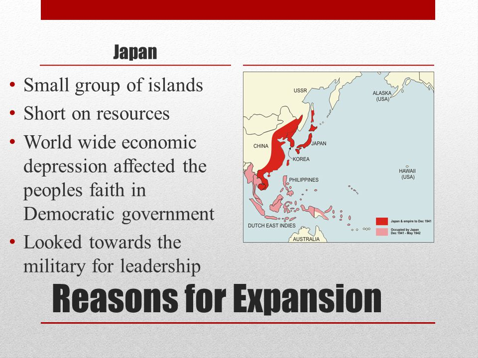 Reasons for Expansion Small group of islands Short on resources