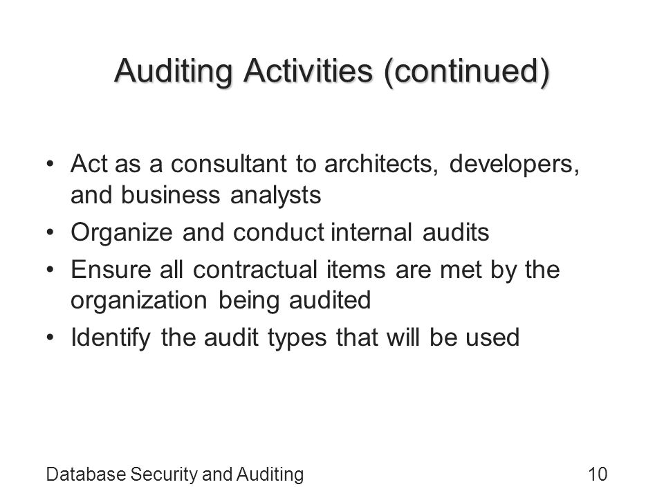 Auditing Activities (continued)