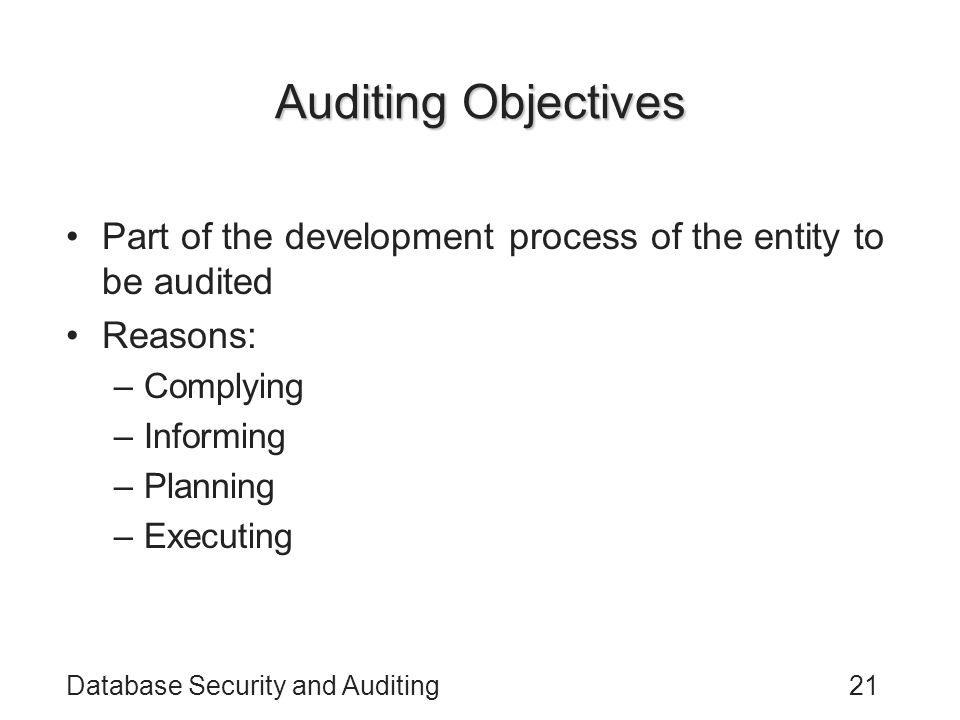 Auditing Objectives Part of the development process of the entity to be audited. Reasons: Complying.