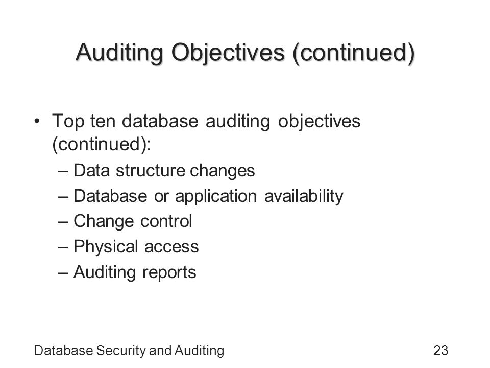 Auditing Objectives (continued)
