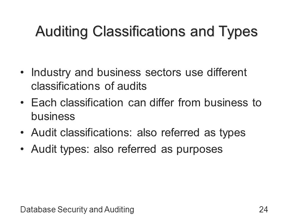Auditing Classifications and Types