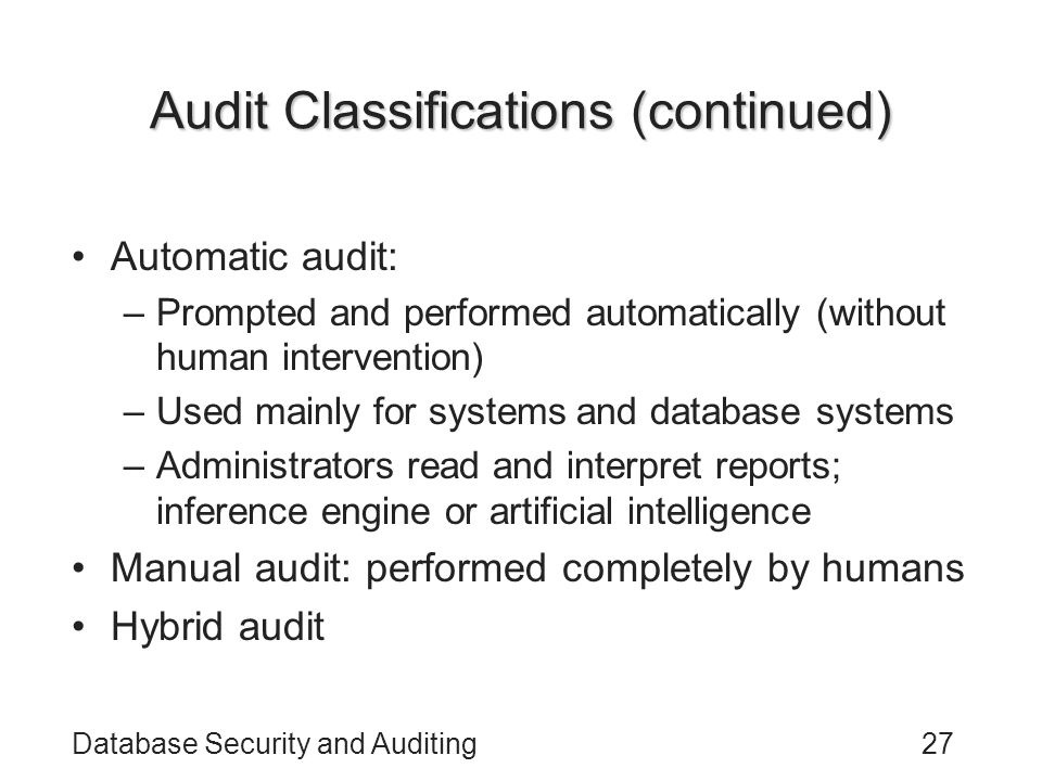 Audit Classifications (continued)