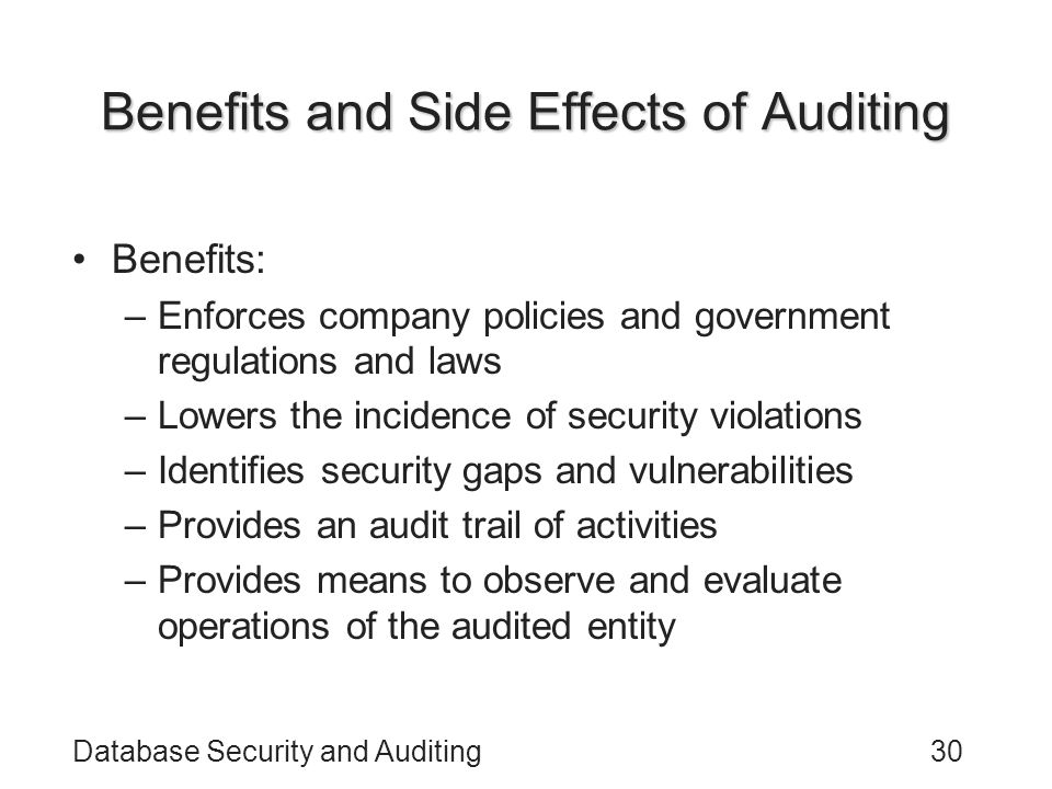 Benefits and Side Effects of Auditing