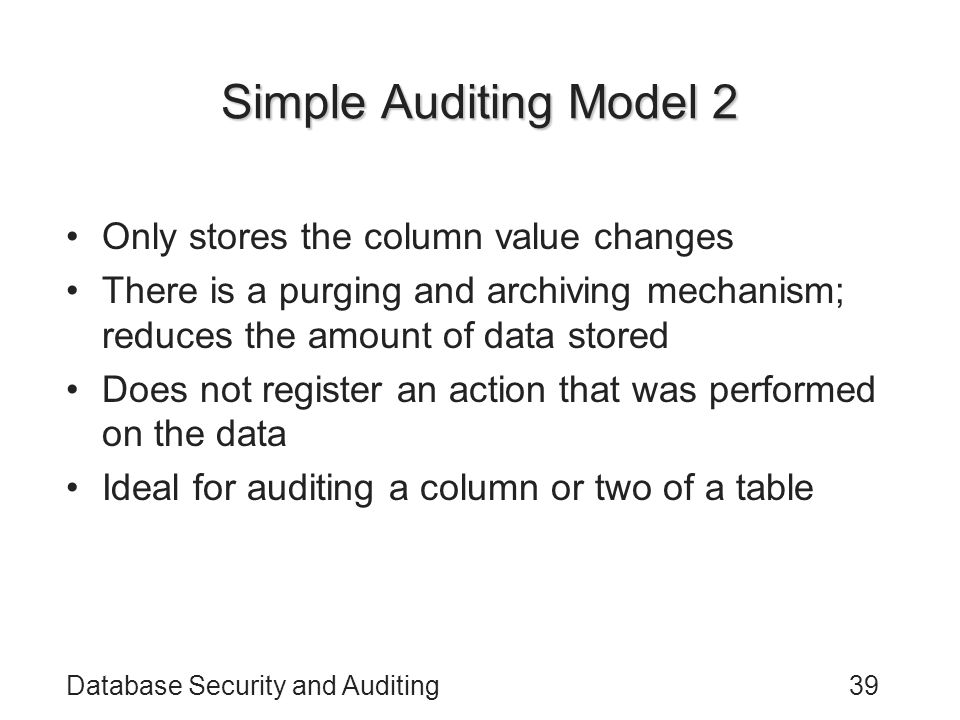 Simple Auditing Model 2 Only stores the column value changes