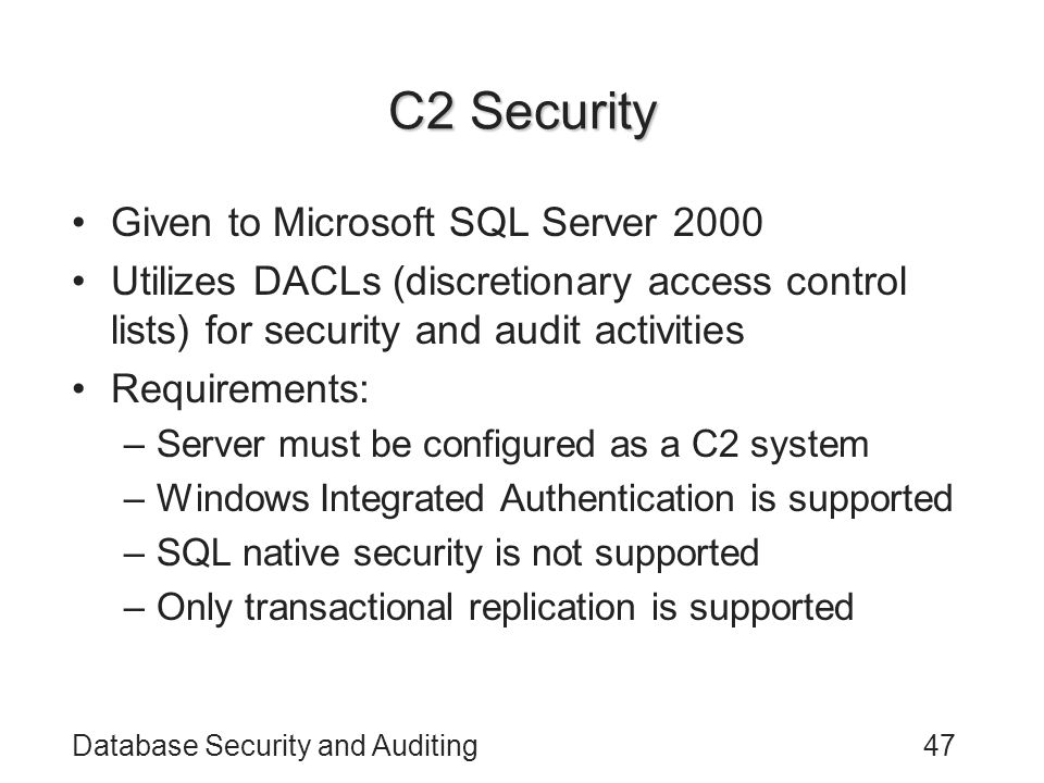 C2 Security Given to Microsoft SQL Server 2000
