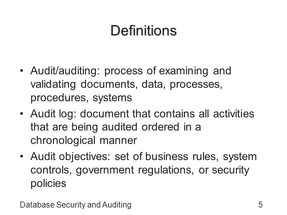 Definitions Audit/auditing: process of examining and validating documents, data, processes, procedures, systems.