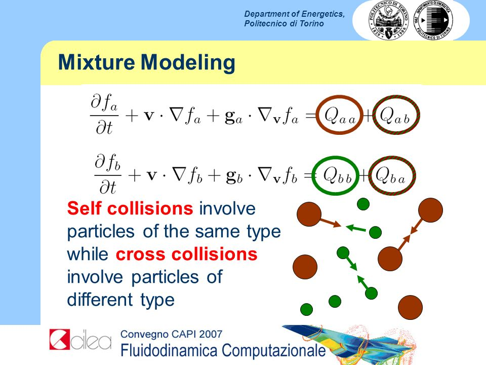 Mixture Modeling Self collisions involve particles of the same type while cross collisions involve particles of different type.