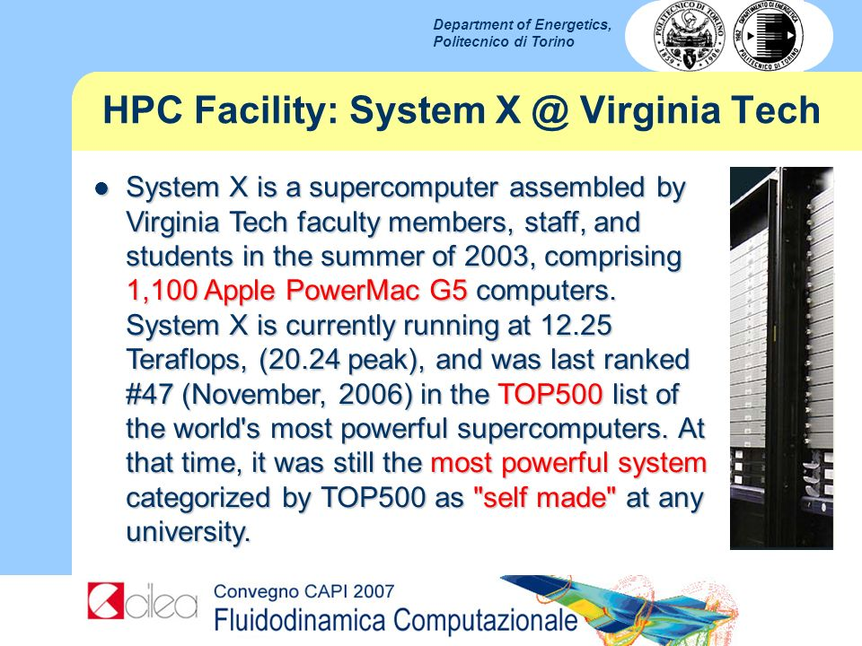 HPC Facility: System X @ Virginia Tech