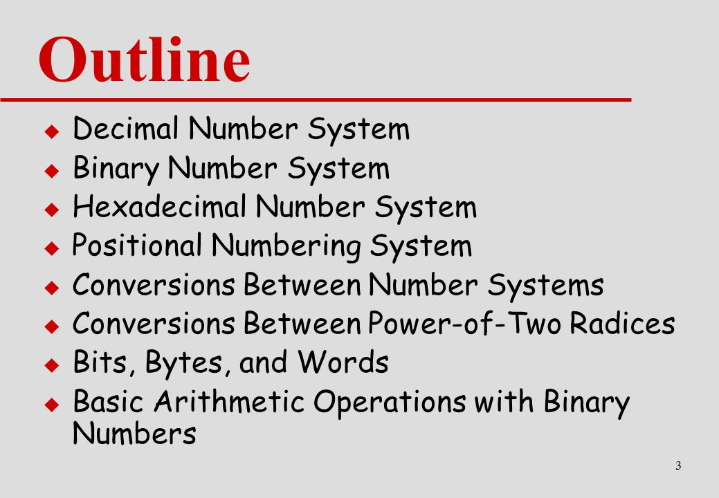 Outline Decimal Number System Binary Number System