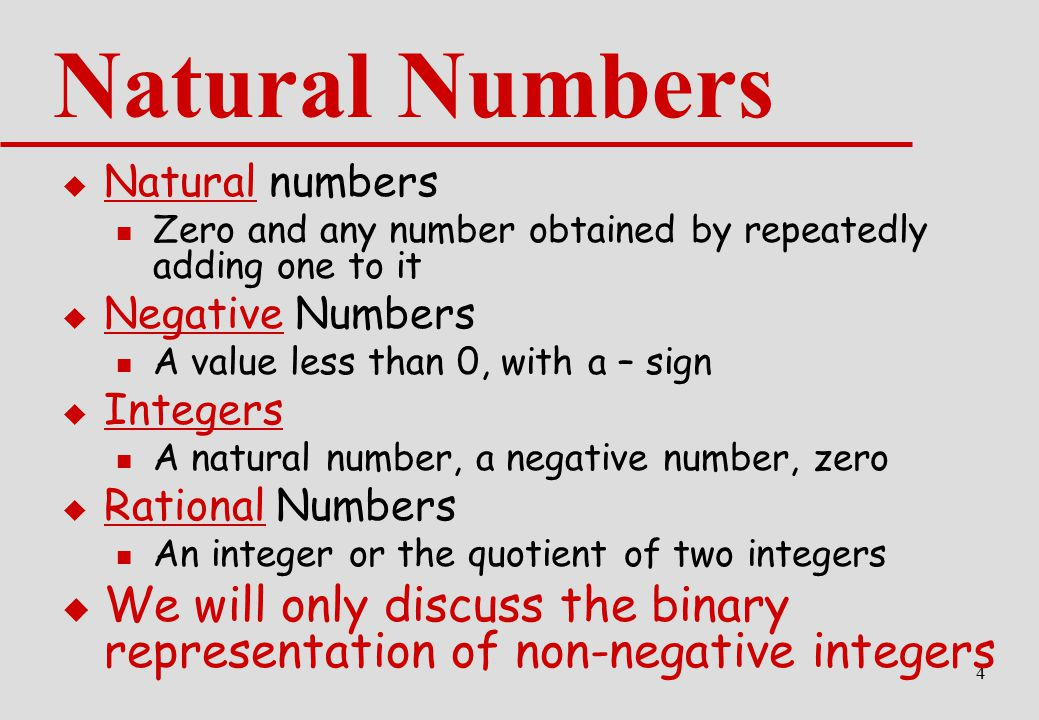 Natural Numbers Natural numbers. Zero and any number obtained by repeatedly adding one to it. Negative Numbers.