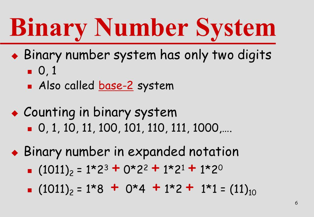 Binary Number System Binary number system has only two digits