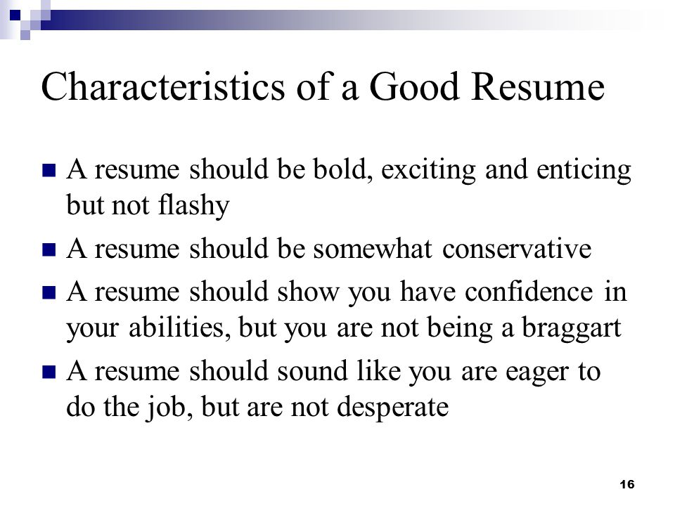 Characteristics Of A Good Resume  What A Resume Should Look Like