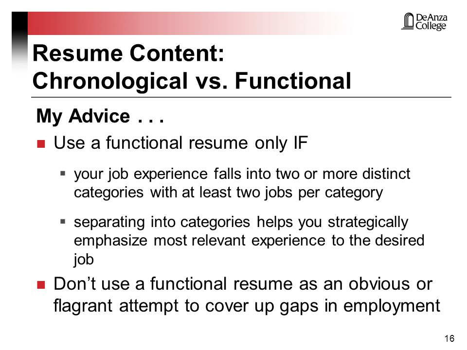chronological or functional resume