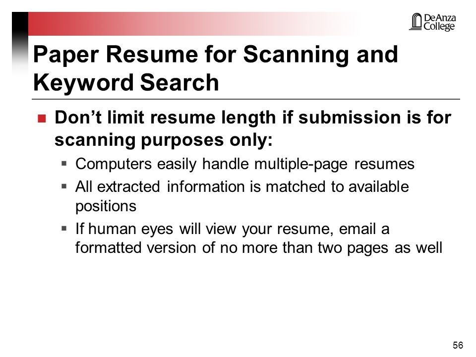 paper resume for scanning and keyword search