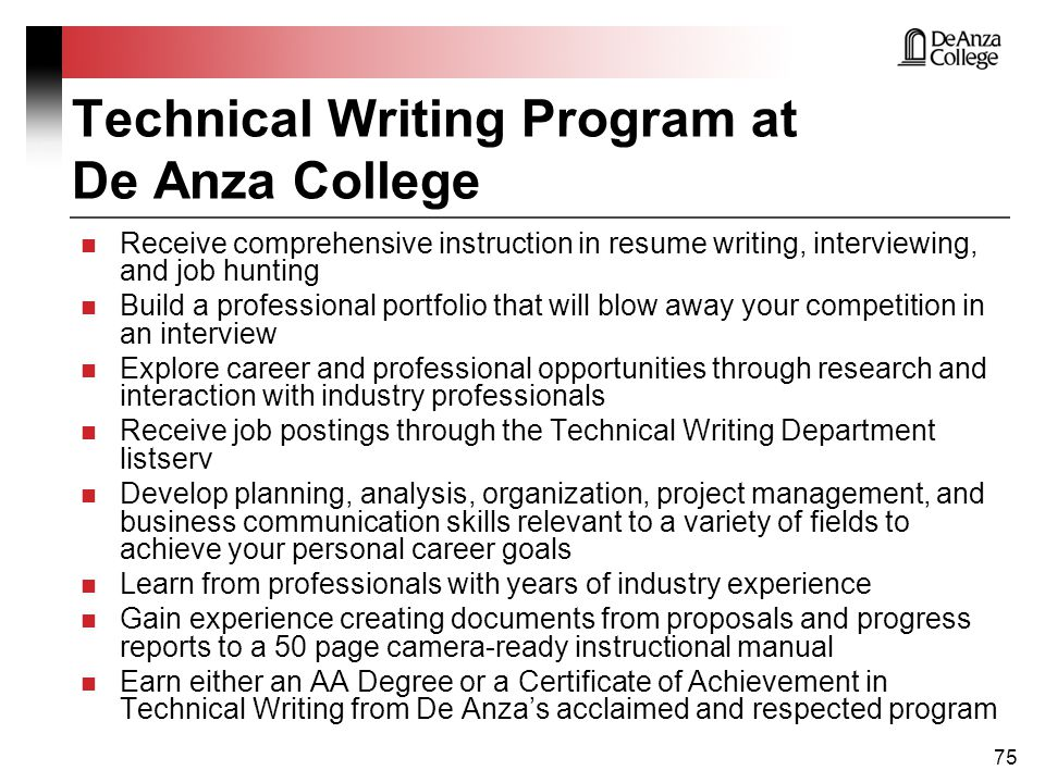 technical writing program Technical writing from moscow institute of physics and technology the course develops technical writing skills necessary to communicate information gained through a process of technical or experimental work.
