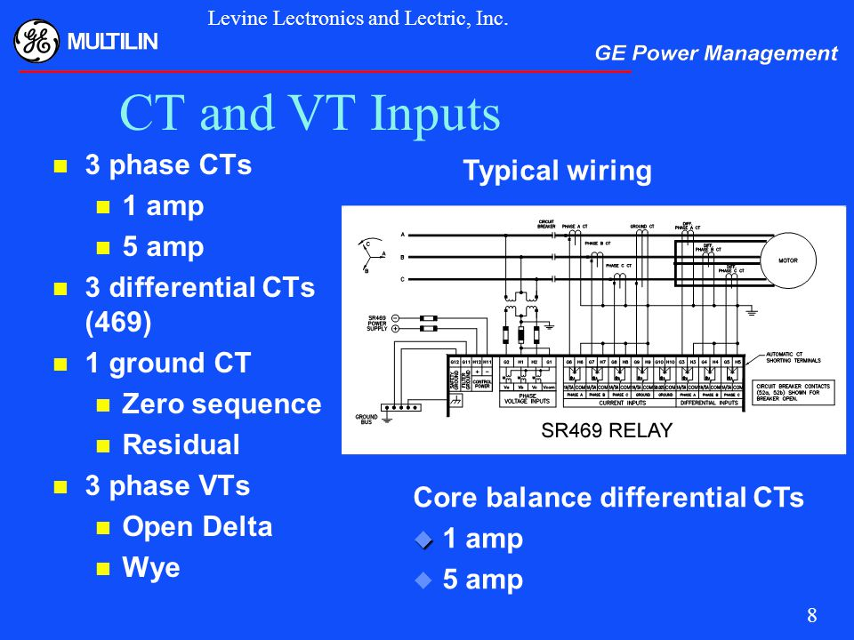 CT+and+VT+Inputs+3+phase+CTs+Typical+wiring+1+amp+5+amp motor protection for this millennium ppt video online download ge multilin 469 wiring diagram at gsmx.co