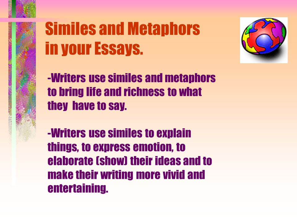 simile essays A simile compares a person, action or object with something else - for example, 'fly like an eagle', 'solid as a rock', 'as happy as larry', 'pleased as punch', and so on well-chosen metaphors and similes can give your writing immense expressive power.