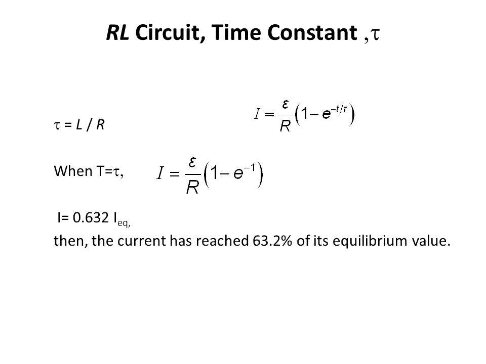 RL Circuit, Time Constant ,t