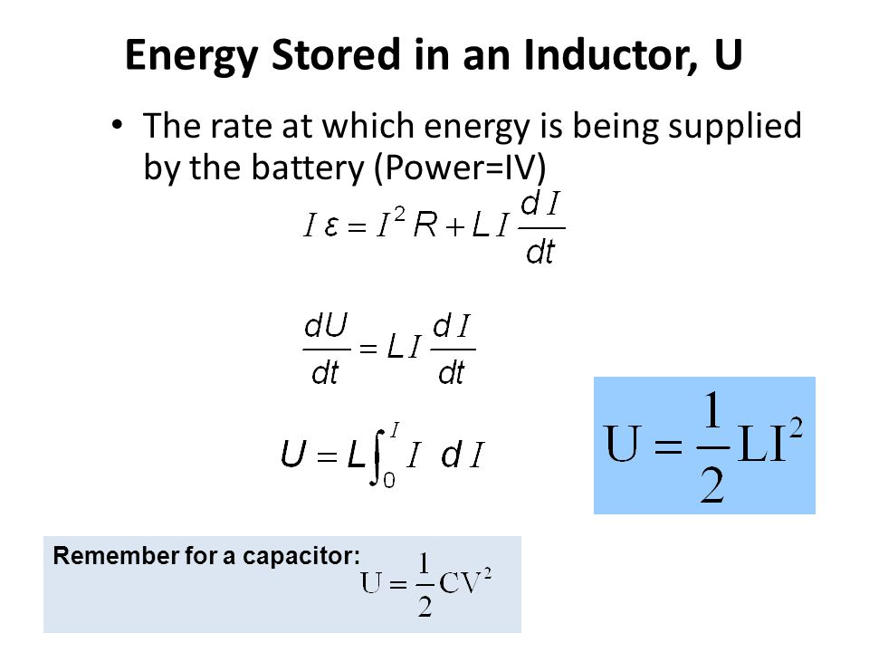 Energy Stored in an Inductor, U