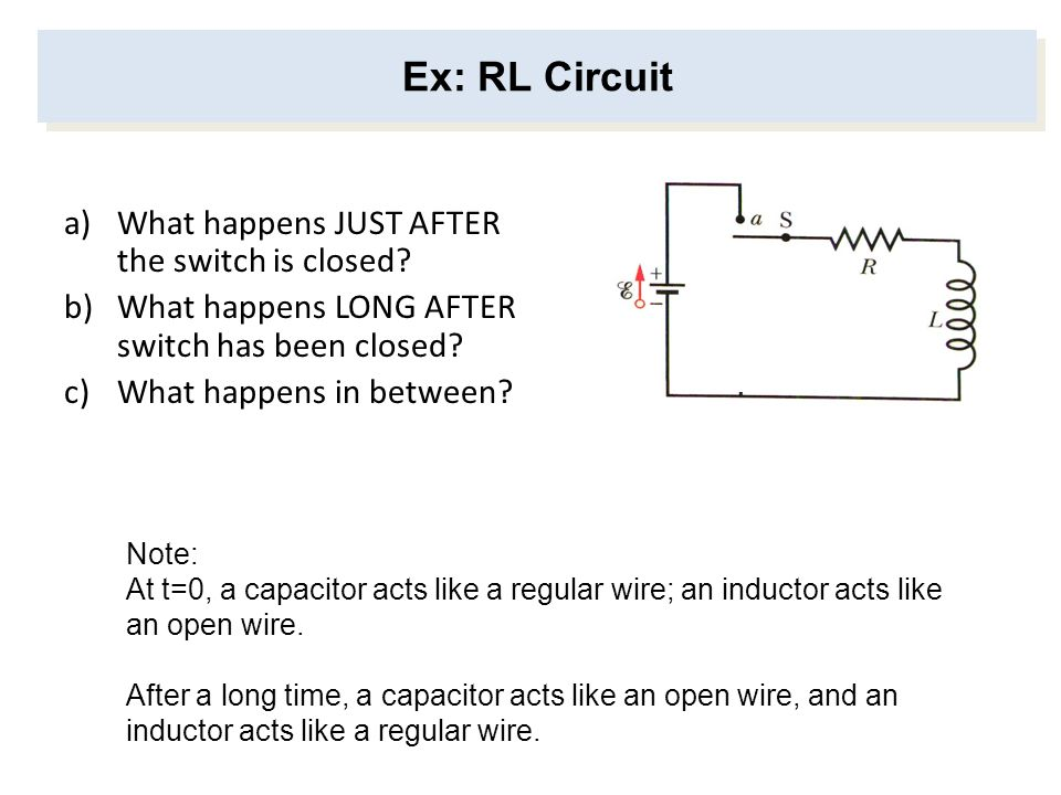 Ex: RL Circuit What happens JUST AFTER the switch is closed