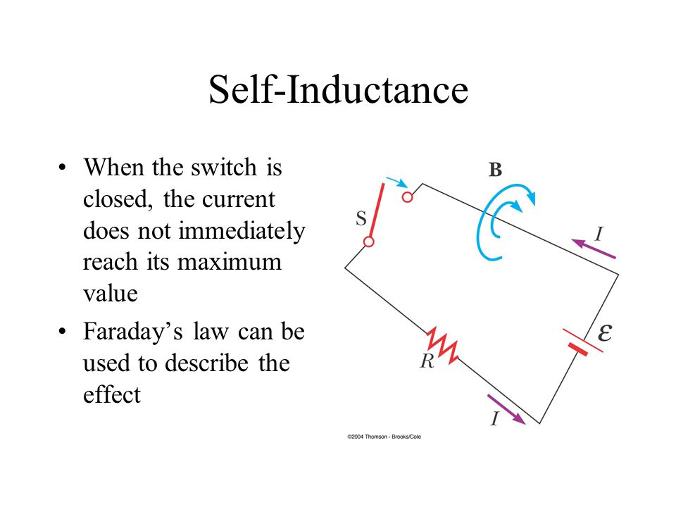 Self-Inductance When the switch is closed, the current does not immediately reach its maximum value.