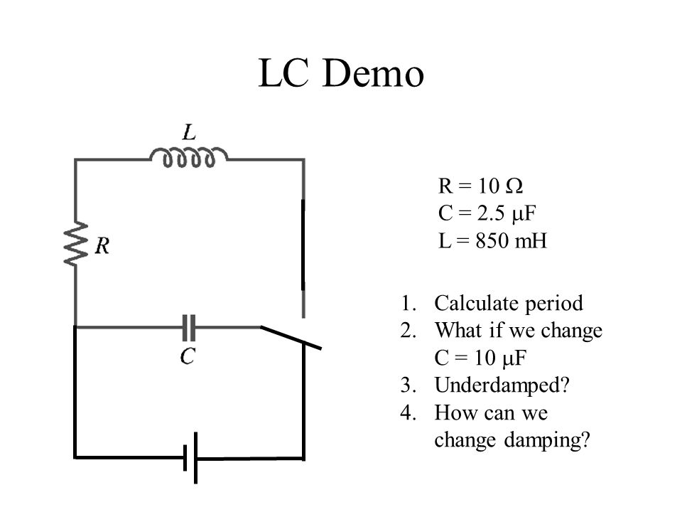 LC Demo R = 10 W C = 2.5 mF L = 850 mH Calculate period