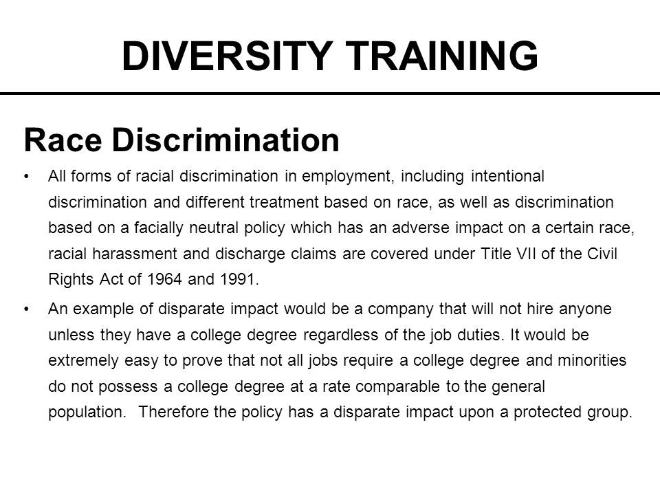 the racial discrimination in once upon a time Trends in employment discrimination cases based on race, sex and age kamilah holder trends in employment discrimination cases based on race, sex and age length: deposition- the testimony of a witness taken upon interrogatories, not in open court.