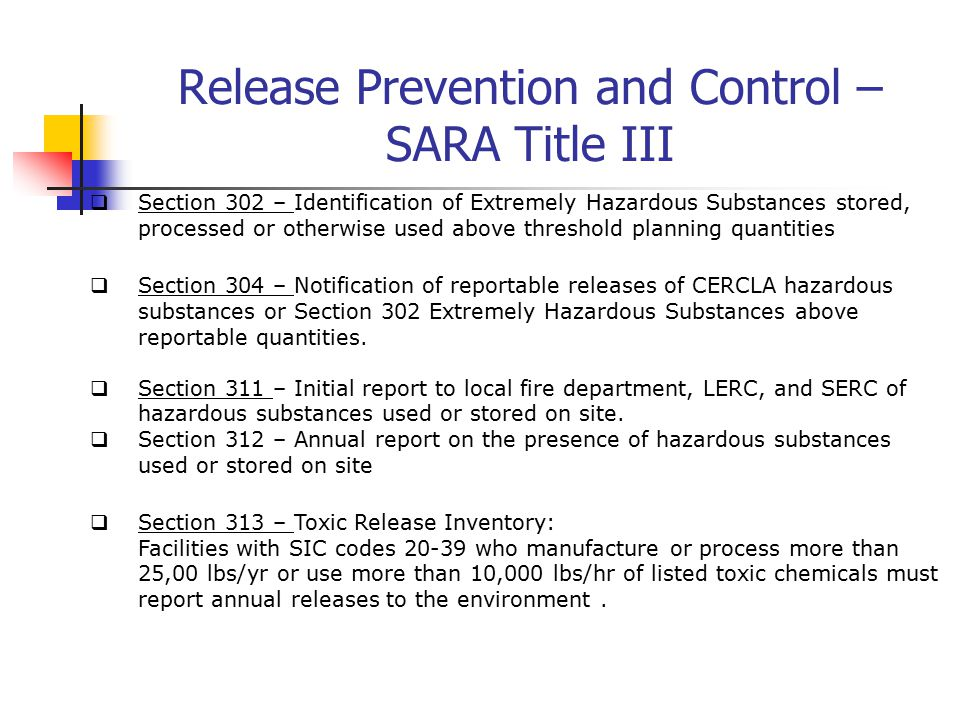 Sara Section 302 Classification Of Air Pollutants Ppt
