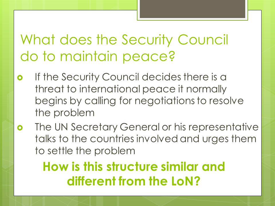 What does the Security Council do to maintain peace