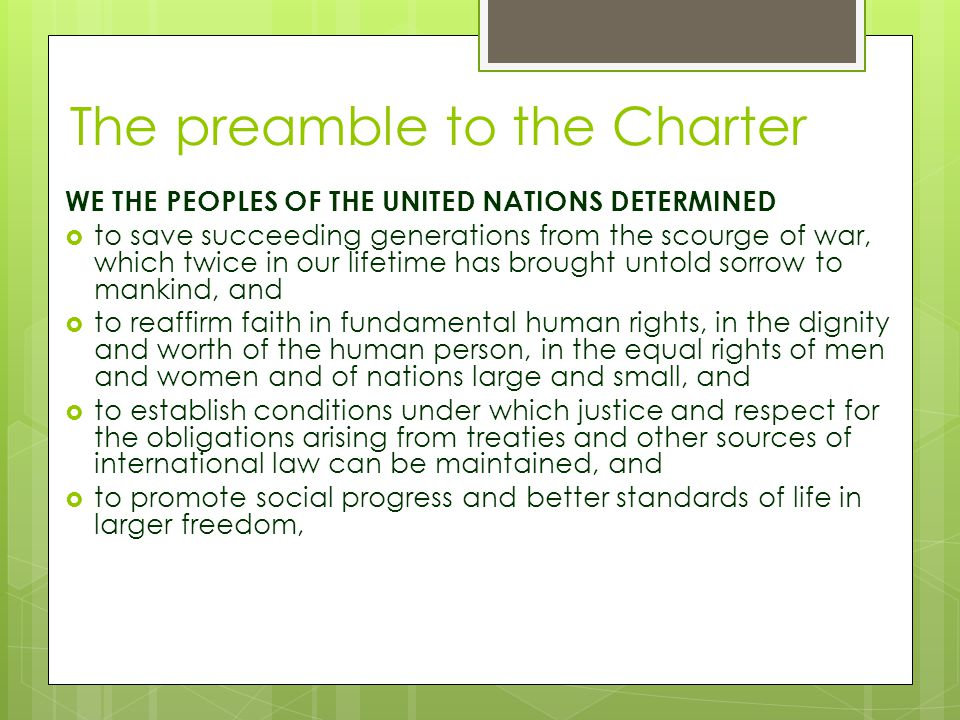 The preamble to the Charter