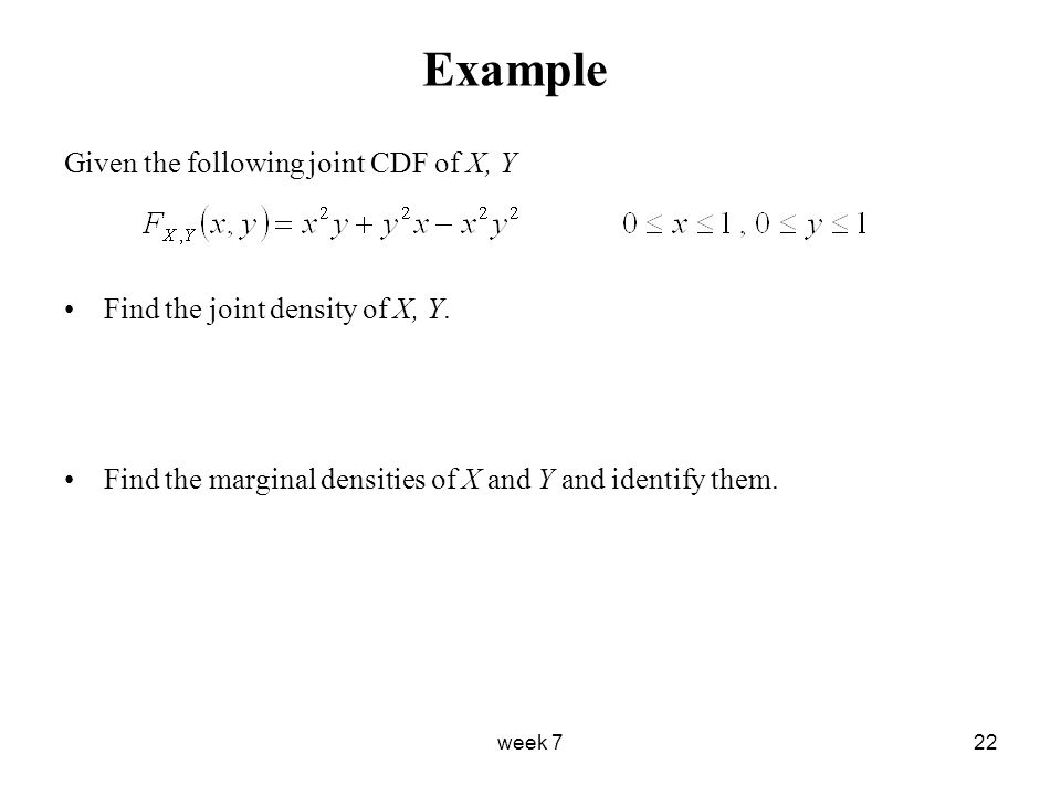 find marginal pdf from joint cdf
